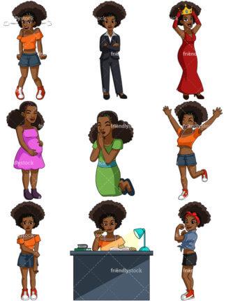 324x432 Happy Black Woman Cartoon Vector Clipart