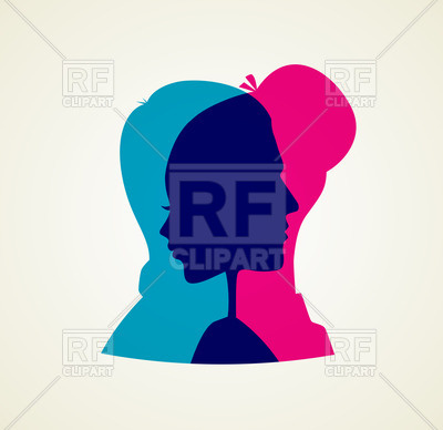 400x388 Transparent Silhouettes Of Man And Woman Vector Image Vector