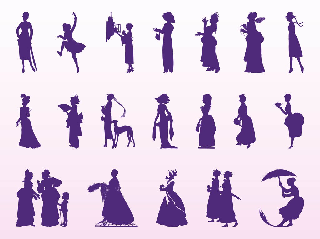 1024x765 Vintage Women Silhouettes Vector Art Amp Graphics