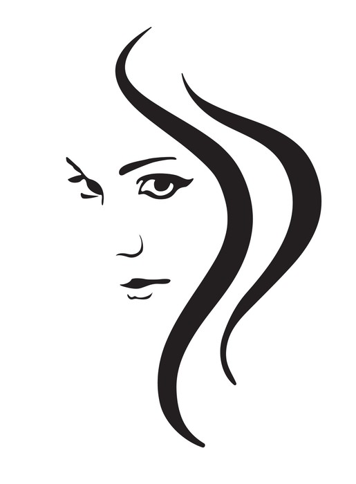 515x700 Young Woman Vector Face, Fashion Symbol Sticker We