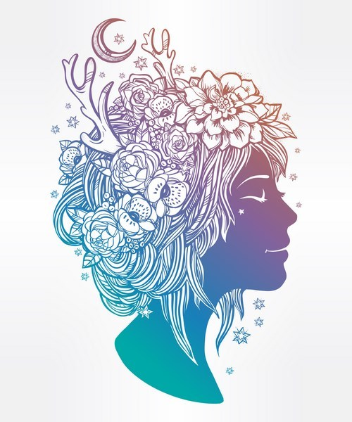 500x600 Floral Woman Art Vector Material 02 Free Download