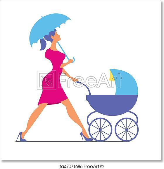 561x581 Free Art Print Of Nanny. Woman Walking With A Baby Carriage