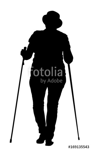 304x500 Nordic Walking Vector Silhouette Illustration Isolated On White