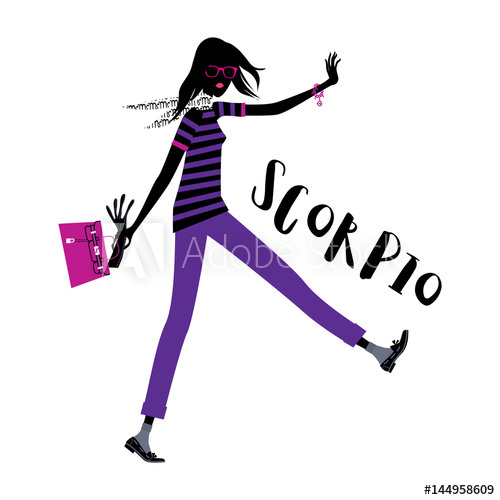 500x500 Scorpio Horoscope Sign As A Business Style Woman Walking. Vector