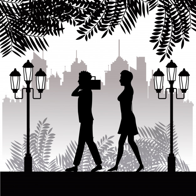 626x626 Silhouette Man Radio And Woman Walking Park Town Background Vector
