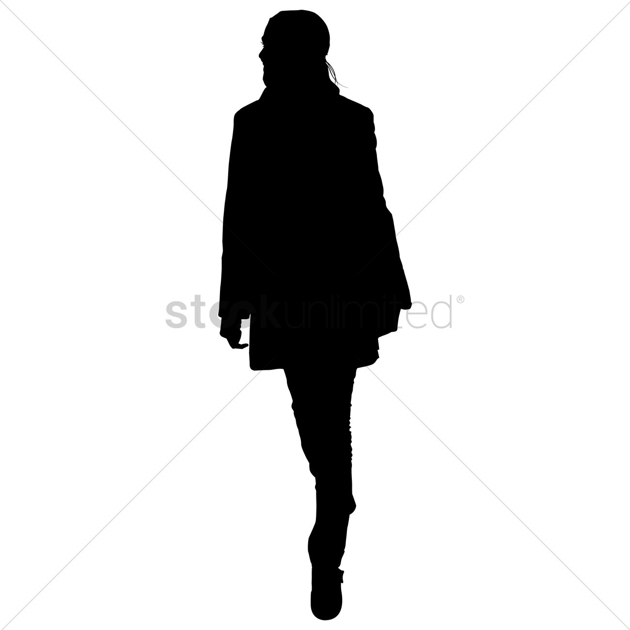1300x1300 Silhouette Of A Lady Walking Vector Image