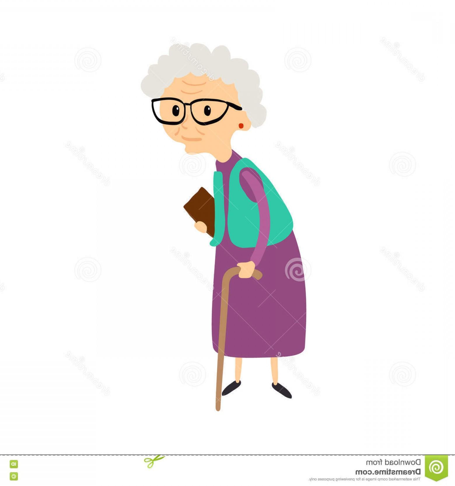 1560x1668 Stock Illustration Old Woman Cane Senior Lady Glasses Walking