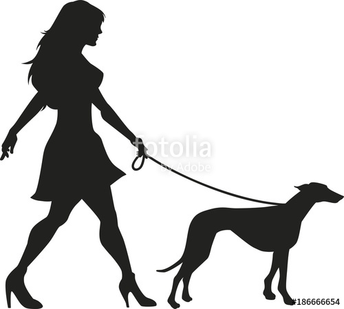 500x449 Vector Silhouette Of An Woman Walking With A Dog Stock Image And
