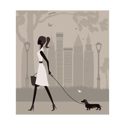 400x400 Woman Walking With A Dog. Vector Art Print By Ladoga