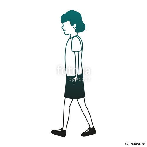 500x500 Young Woman Walking Vector Illustration Graphic Design Stock