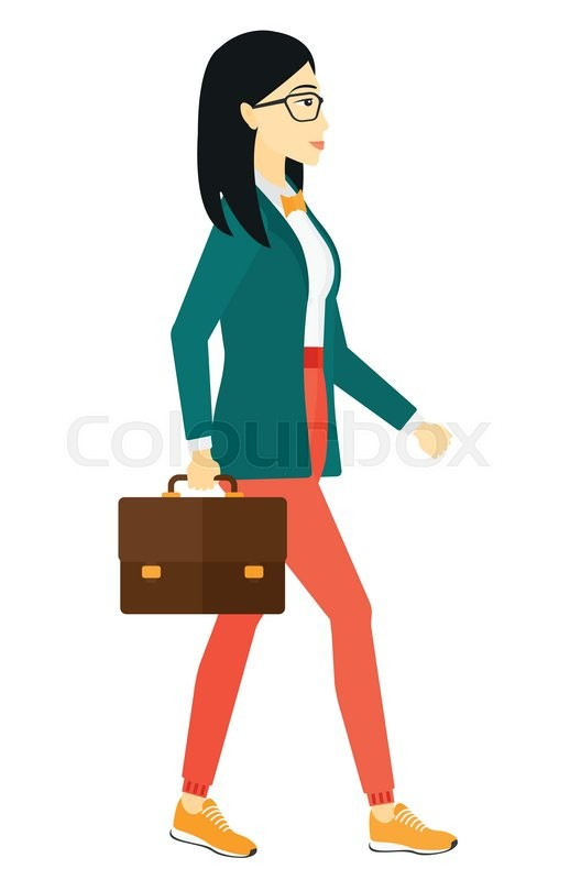 518x800 An Asian Business Woman Walking With A Briefcase Vector Flat