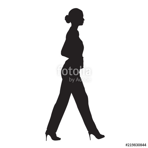 500x500 Business Woman Walking, Side View, Isolated Vector Silhouette