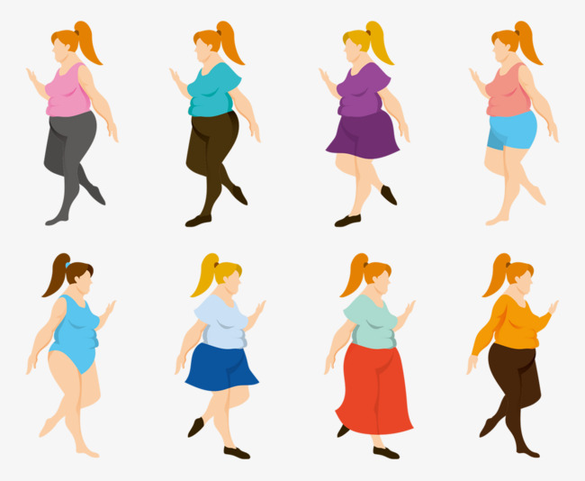 650x534 Fat Woman Walking, Woman Vector, Vector Material, Hand Painted