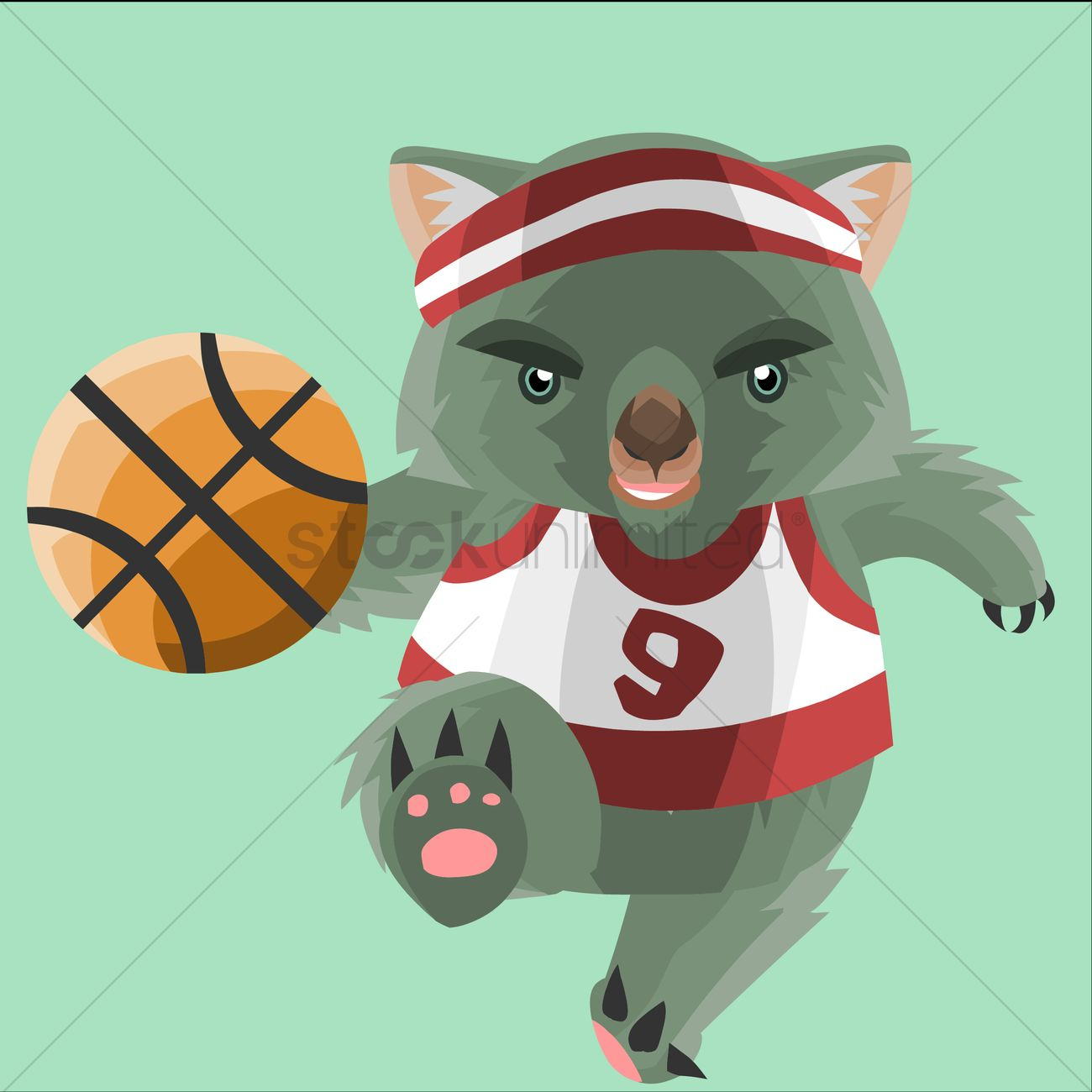 1300x1300 Wombat Basketball Player Vector Image
