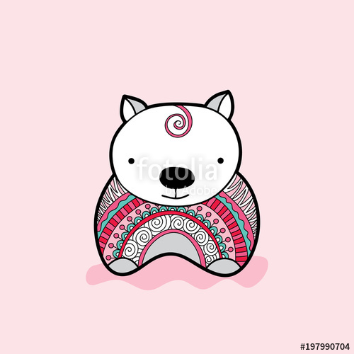 500x500 Cute Wombat With A Multi Colored Jumper Vector Illustration On A