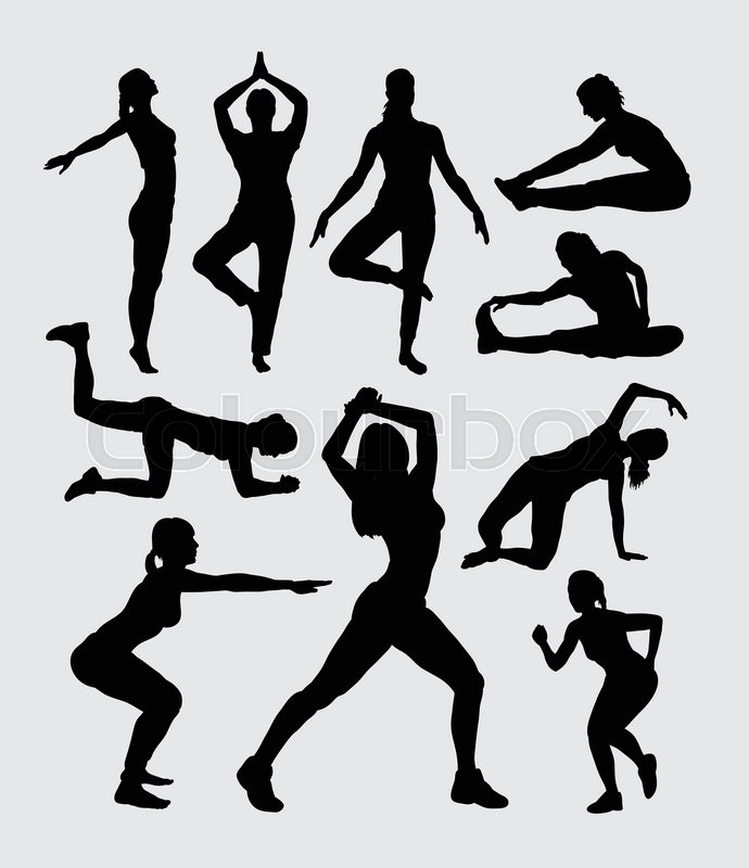 690x800 Aerobic Women Fitness Sport Silhouettes. Good Use For Symbol, Logo