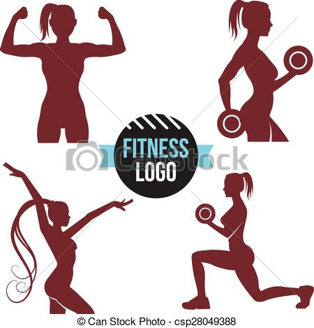 450x469 Fitness Logo Set. Elegant Women Silhouettes. Fitness Club, Fitness