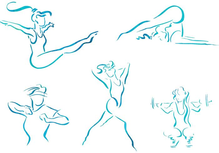 700x490 Free Vector Sketch Women Fitness Illustrations