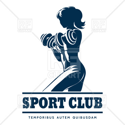 400x400 Sport Or Fitness Club Emblem With Athletic Woman Vector Image