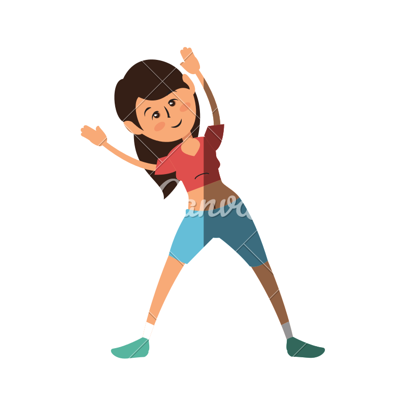 800x800 Women Fitness Cartoon Vector Icon Illustration