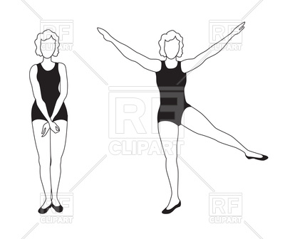 400x336 Women Doing Fitness Exercises Vector Image Vector Artwork Of