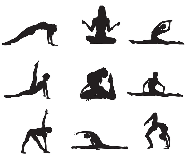 600x521 Women Workout Silhouette Vector Material 02 Free Download