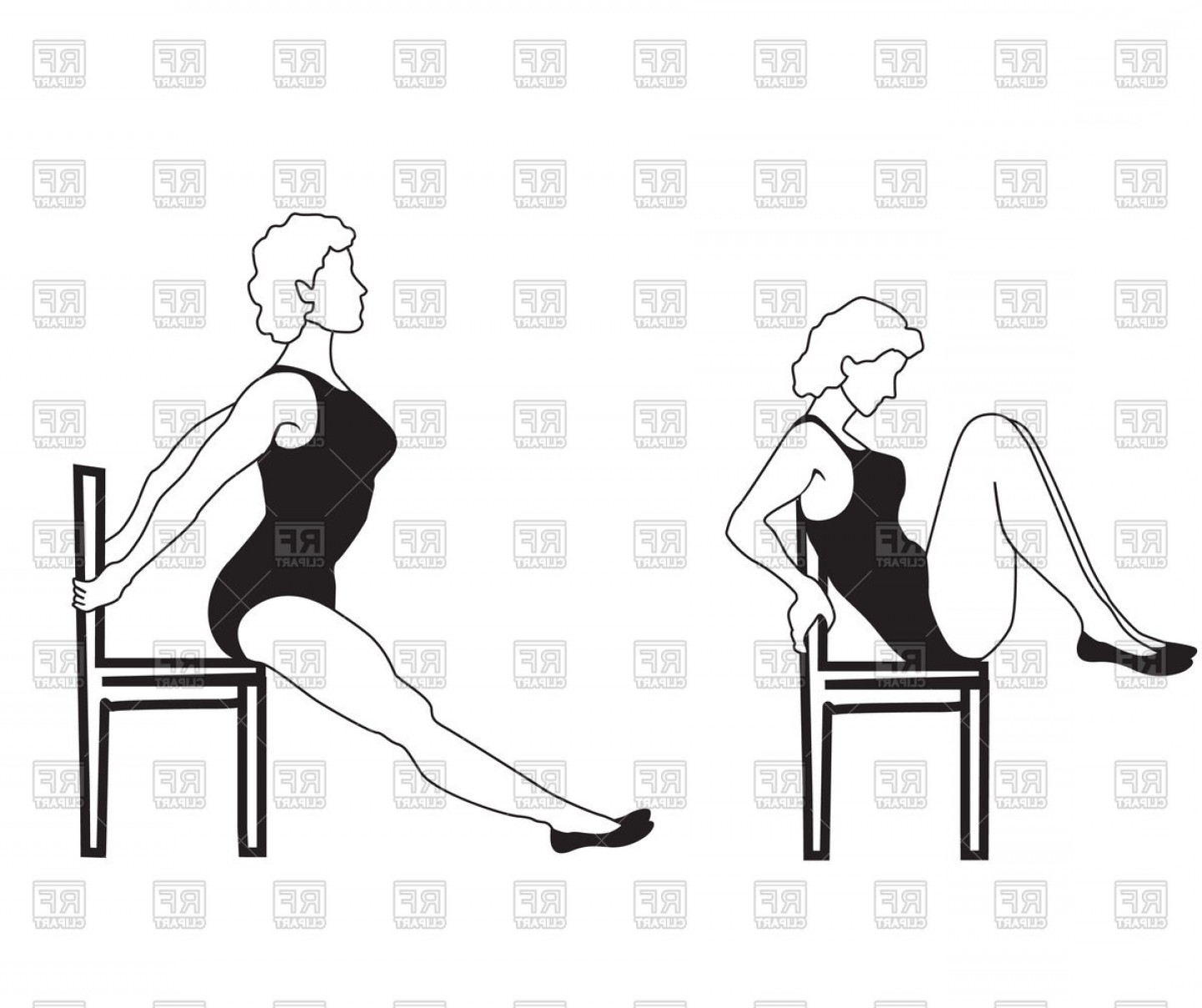 1440x1208 Elegant Women Silhouettes Doing Fitness Exercises On Chair Vector