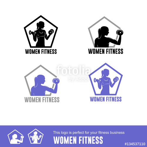 500x500 Woman Fitness, Logo For Women Fitness Isolated Stock Image And