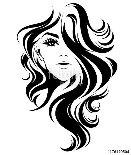 423x500 Women Long Hair Style Icon, Logo Women On White Background Stock