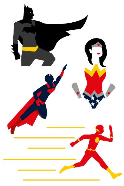 400x600 Freemocks Superheroes Vector Batman Wonder Woman Flash