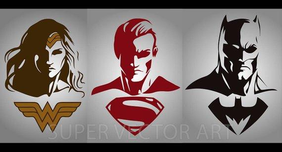570x308 Batman Superman Wonder Woman Vector Clipart Silhouette Svg Etsy