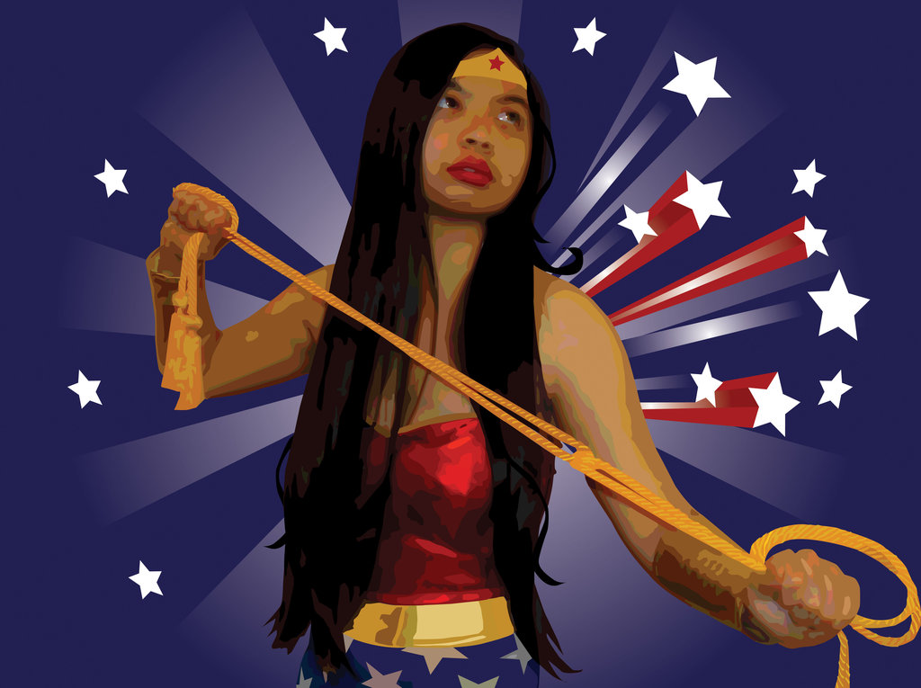 1024x765 Wonder Woman Vector Portrait By Grimfiendfyre