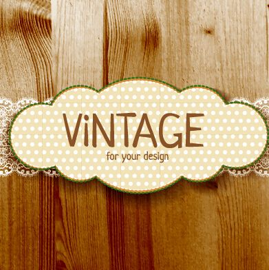 391x392 Retro Lace With Wooden Background Vector 03
