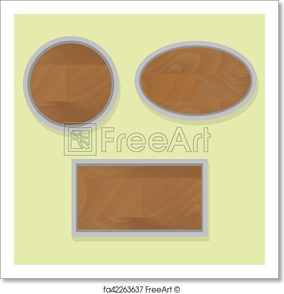561x581 Free Art Print Of Wooden Banner Set. Wooden Banner Set. Texture