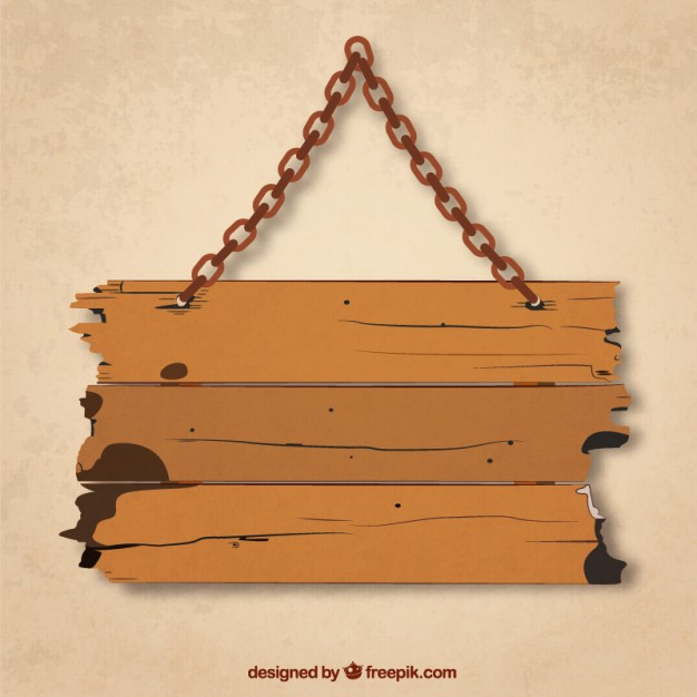 626x626 Grunge Wood Board Hanging On A Chain Vector Free Download