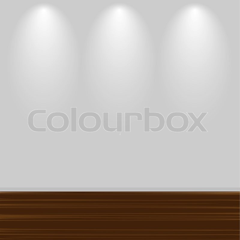 800x800 Empty White Wall With Wooden Floor, Vector Illustration Stock