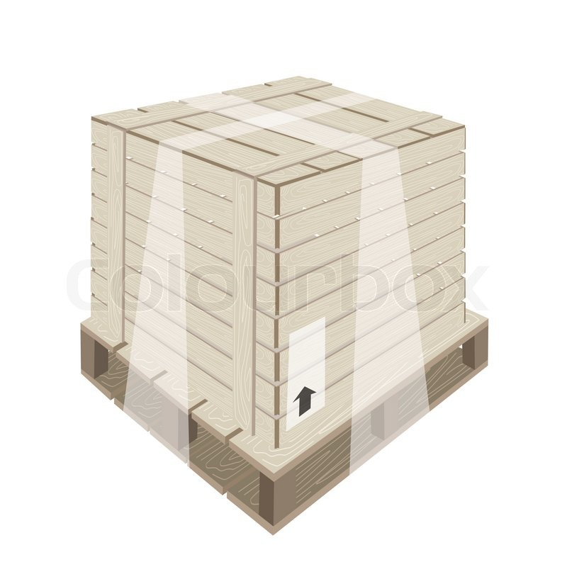 800x800 An Illustration Wooden Crate Or Cargo Box Wrapped In Plastic