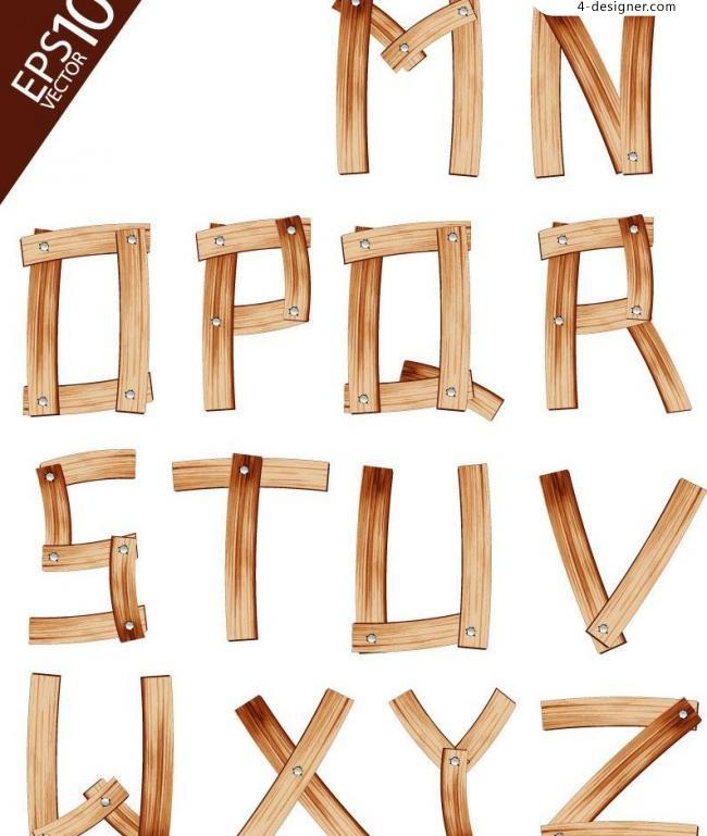 650x769 4 Designer Wood Plank Vector Material Alphabet Phonetic Alphabet