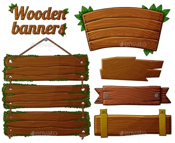 590x482 Set Of Dark Wooden Banners 2. Cartoon Vector By Annzabella