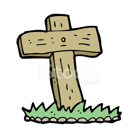 440x440 Cartoon Wooden Cross Grave Stock Vector