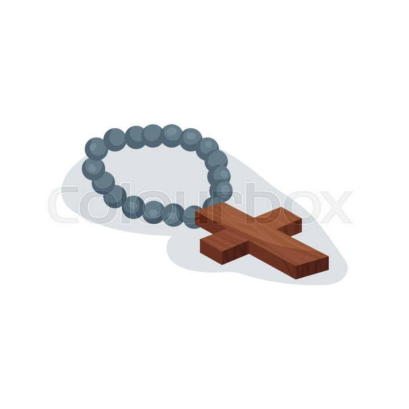 800x800 Cartoon Icon Of Holy Christian Rosary. Chaplet With Brown Wooden