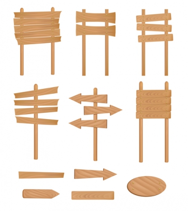 380x425 Set Of Wooden Signs And Indicator Board Vector Graphics Vector