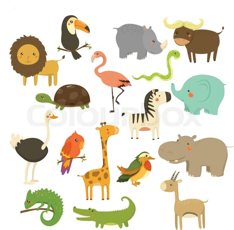 800x785 Cute Woodland And Jungle Animals Vector Set Stock Vector Colourbox