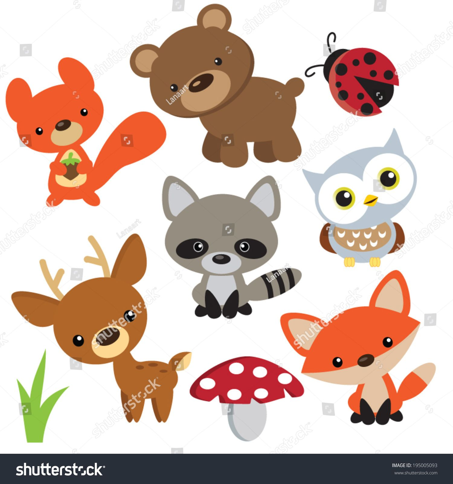 1500x1600 Forest Animals Vector Illustration Woodland