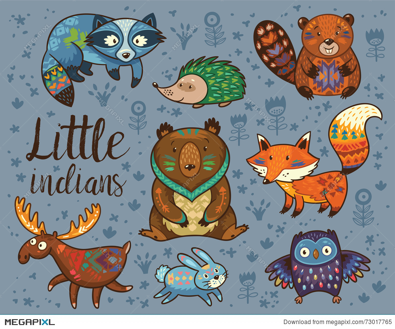 800x666 Little Indians. Woodland Tribal Animals Vector Set Illustration