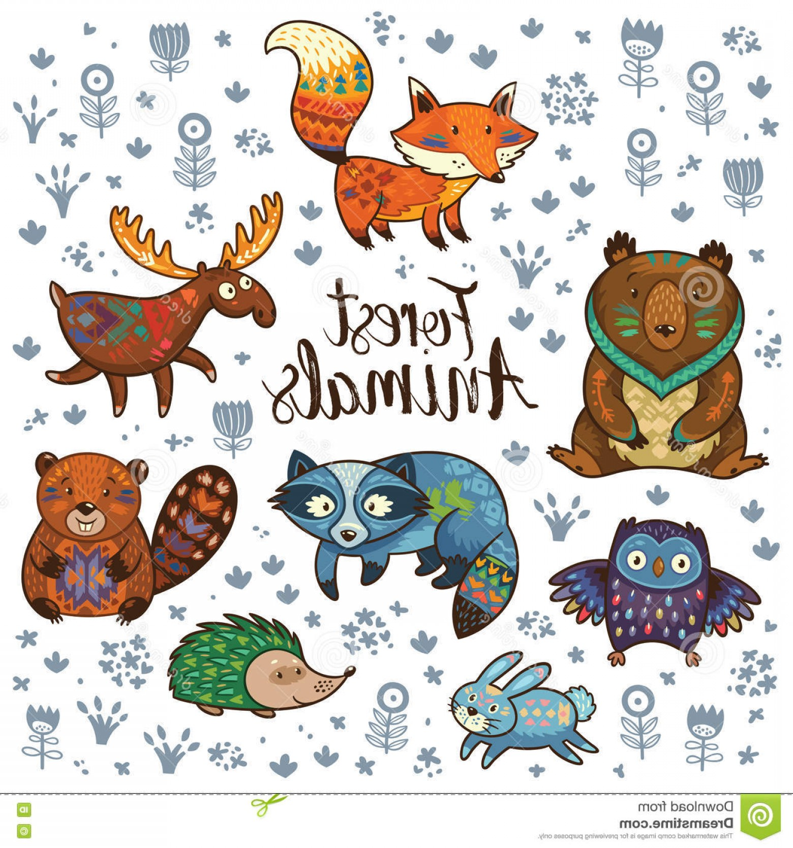 1560x1668 Stock Illustration Forest Tribal Animals Vector Set Cute Woodland