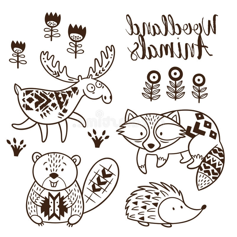 800x800 Woodland Animals Coloring Pages Hk42 Decorative Ornamental