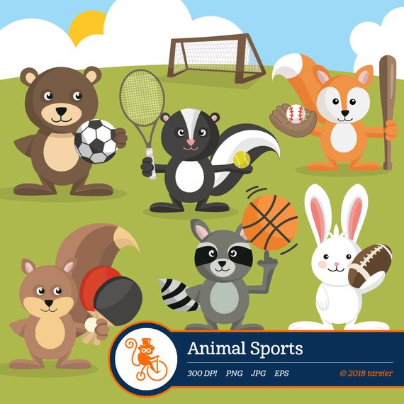 570x570 Animals Sports Woodland Animal Vector Graphics Digital Clip Etsy