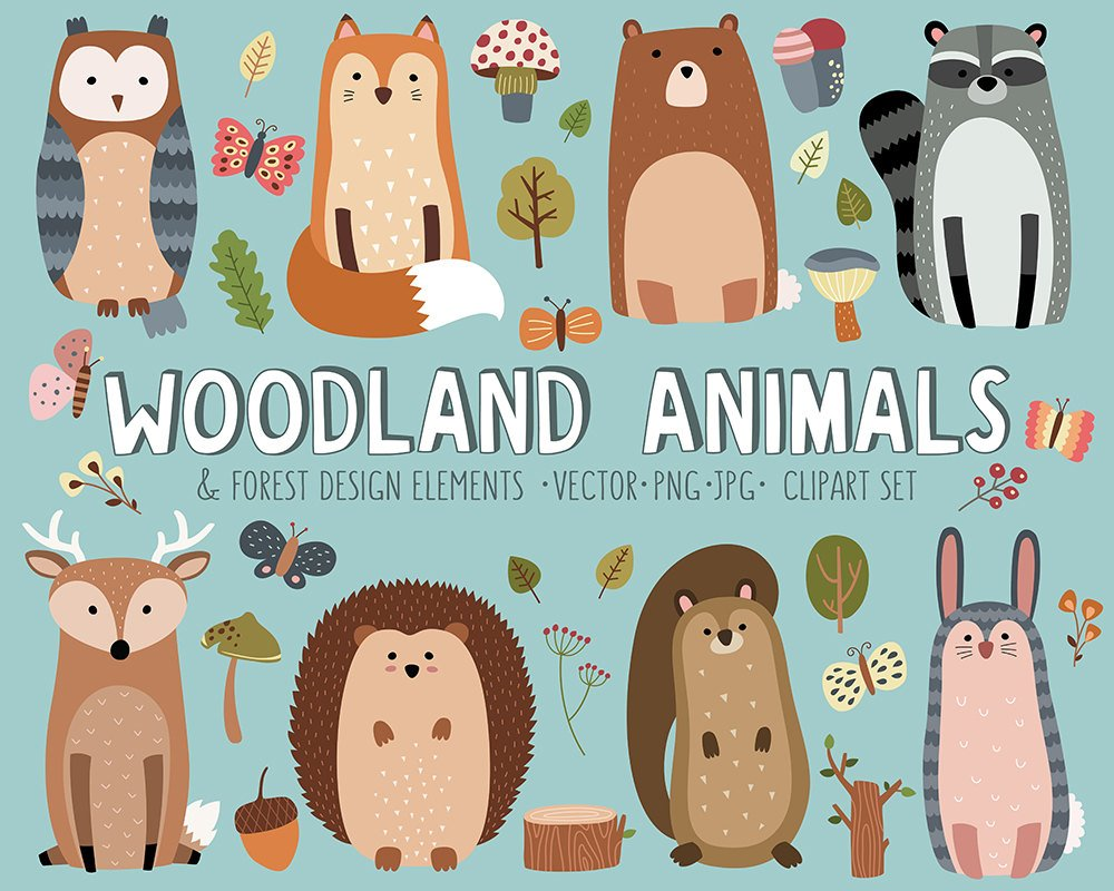 1000x800 Woodland Clipart Set Cute Woodland Forest Animals Vector Etsy