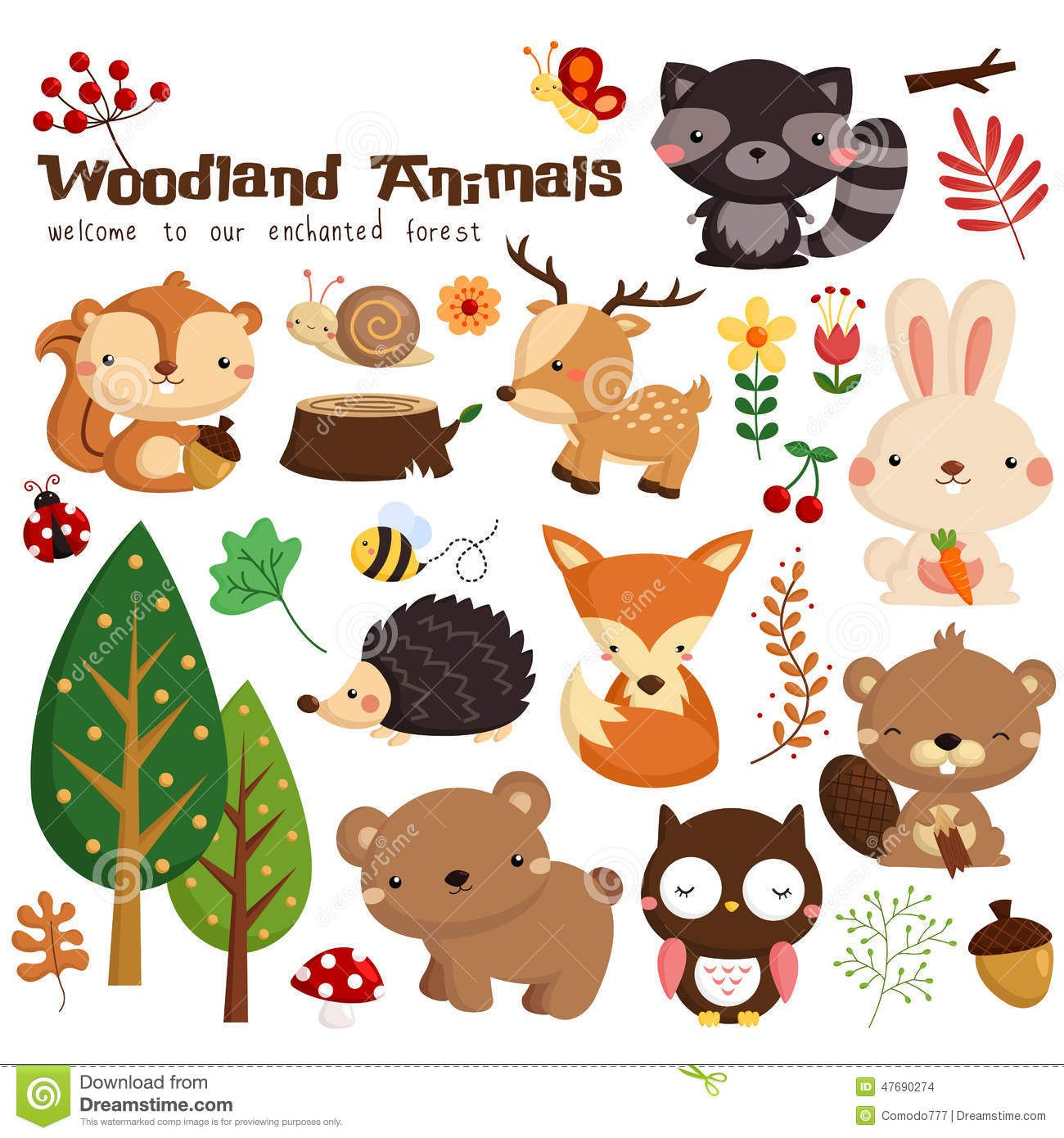 1300x1390 Woodland Animal Vector Set Cute Woodland Animals
